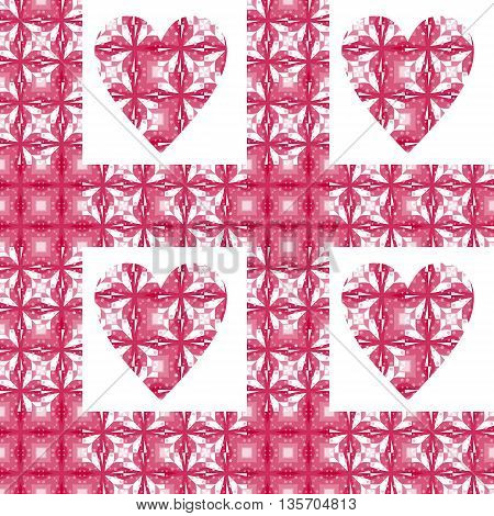Seamless checkered mosaic pattern with hearts. Vector illustration for Valentines day.