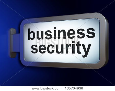 Safety concept: Business Security on advertising billboard background, 3D rendering