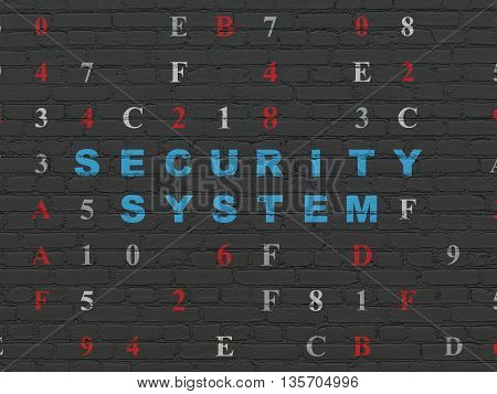 Safety concept: Painted blue text Security System on Black Brick wall background with Hexadecimal Code