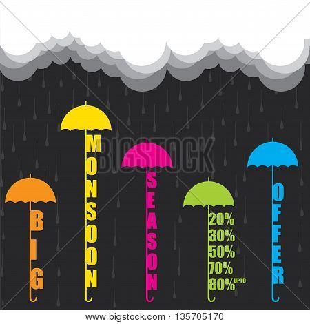 creative big monsoon season offer banner design vector