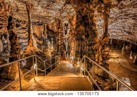 Baradle Cave in Aggtelek National Park in Hungury. Stalactite and stalagmite inside a cave