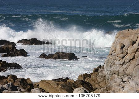 This is an image of the rocky shore of Point Lobos State Preserve in Carmel, California, U.S.A.