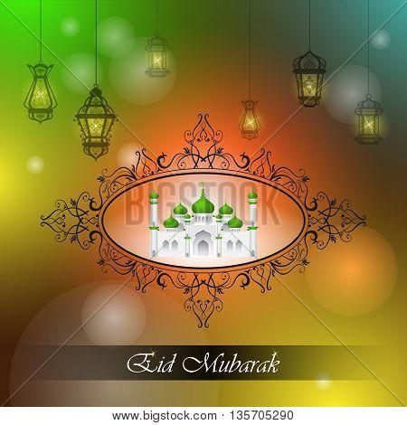 vector illustration of lamp on Eid Mubarak Blessing for Eid background