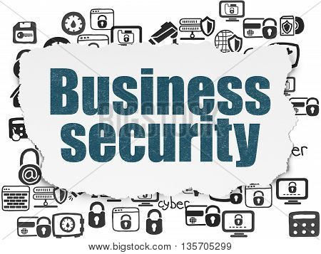 Privacy concept: Painted blue text Business Security on Torn Paper background with  Hand Drawn Security Icons
