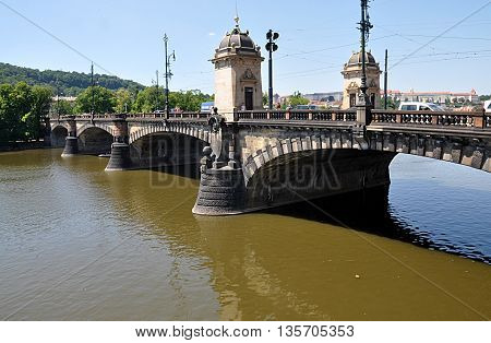 Bridge over the Vltava river, Prague, Czech Republic, Europe
