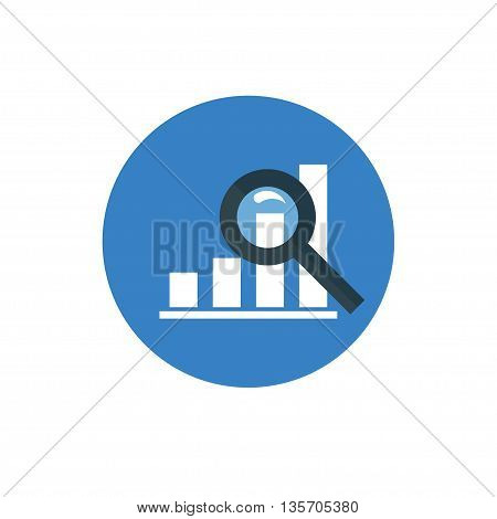 Analytics Icon - vector illustration. Graph and Magnifier symbol on blue background - round color icon. For website graphics, mobile apps, web page layout design.