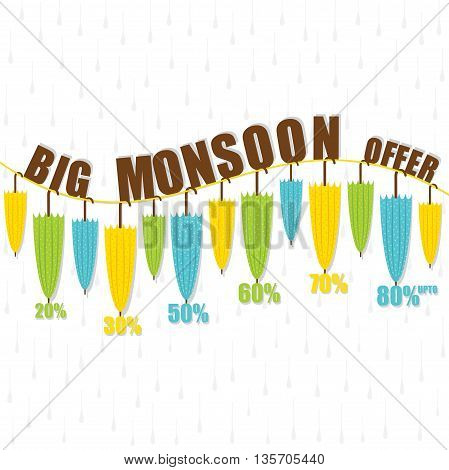 creative colorful umbrella big monsoon offer banner design vector