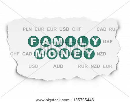 Money concept: Painted green text Family Money on Torn Paper background with  Currency