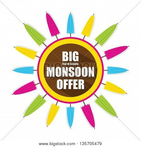 colorful umbrella banner for big monsoon offer design vector