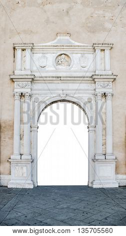 Marble portal in Gothic-Renaissance style usable as frame or border.