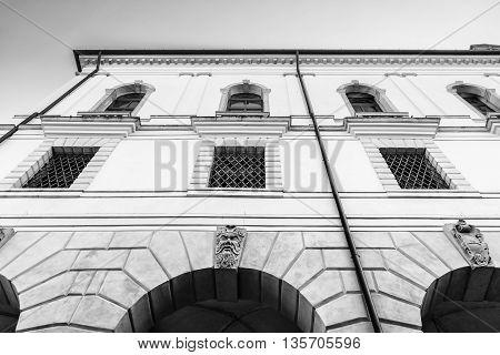 Facade of an ancient Italian medieval building.