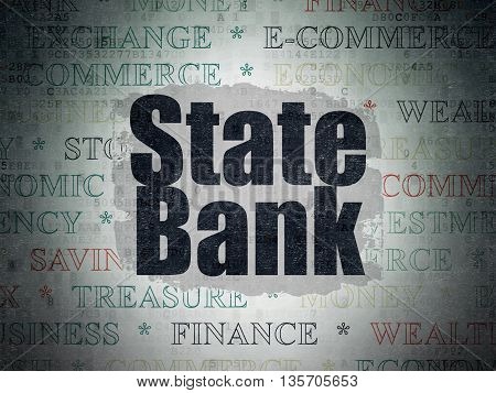 Banking concept: Painted black text State Bank on Digital Data Paper background with   Tag Cloud