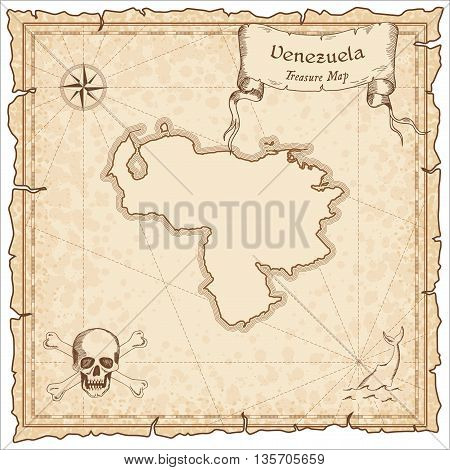 Venezuela, Bolivarian Republic Of Old Pirate Map. Sepia Engraved Template Of Treasure Map. Stylized