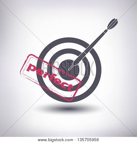 The target with a dart. Grey and stamp. Vector emblem of success.