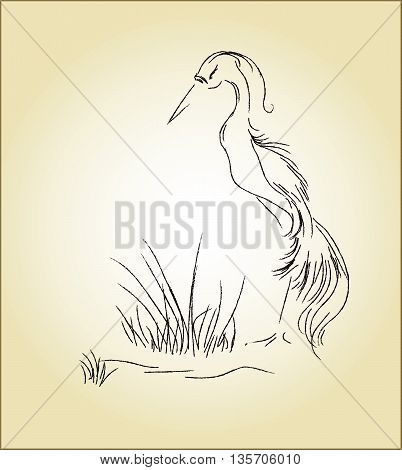 Vector illustration of a heron in the swamp