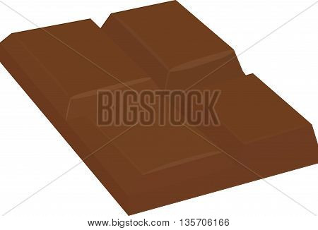 bar of milk chocolate isolated on white, vector illustration