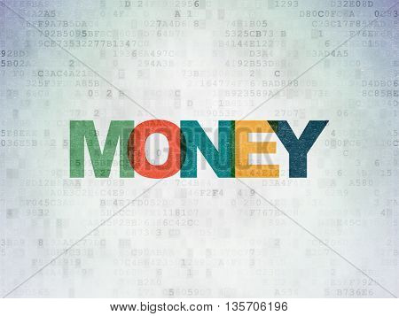 Currency concept: Painted multicolor text Money on Digital Data Paper background