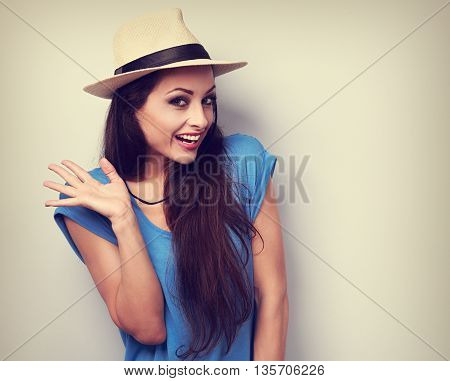 Happy Excited Young Woman In Blue Top And Summer Hat Looking. Vintage Portrait