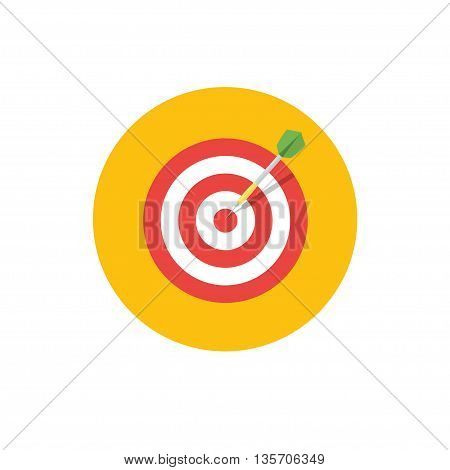 Goal Icon - vector illustration. Target symbol on yellow background - round color icon. For website graphics, mobile apps, web page layout design.