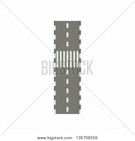 Road with crosswalk icon in cartoon style on a white background