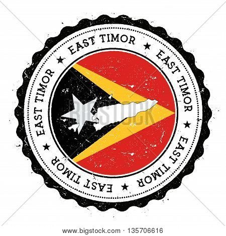 Timor-leste Map And Flag In Vintage Rubber Stamp Of State Colours. Grungy Travel Stamp With Map And