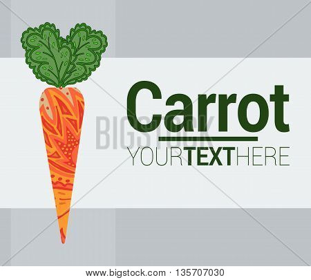 Carrot logo. Vector illustration. Colorful carrot postcard with place for text