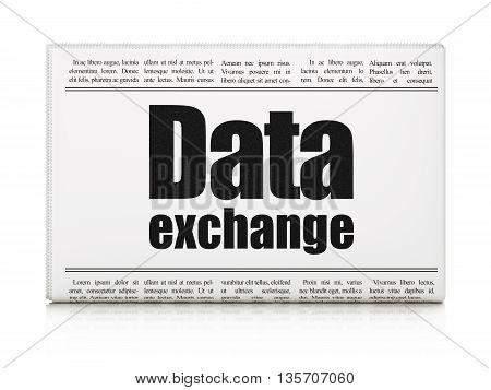 Data concept: newspaper headline Data Exchange on White background, 3D rendering