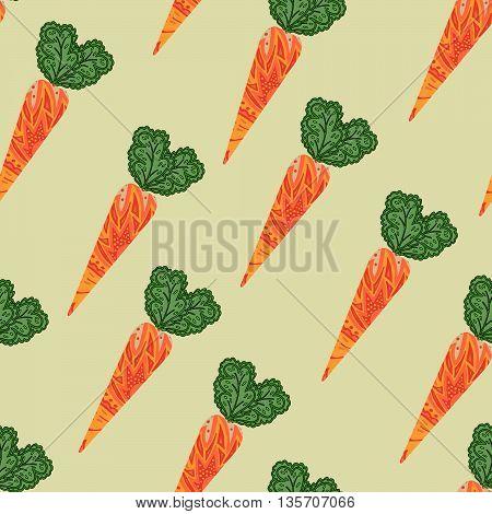 Carrot pattern. Seamless vector illustration. Vintage carrot