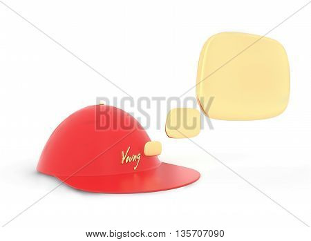 3D Youth Labelled Cap And Speech Bubbles Comming Out From It Concept