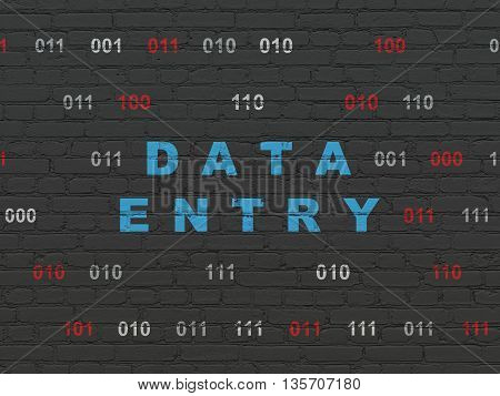 Data concept: Painted blue text Data Entry on Black Brick wall background with Binary Code