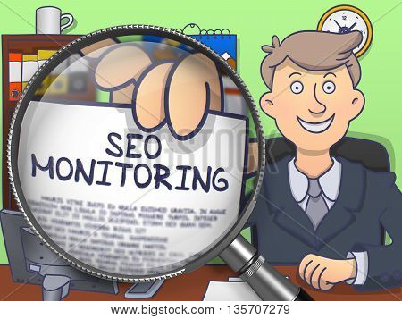 SEO Monitoring on Paper in Business Man's Hand to Illustrate a Business Concept. Closeup View through Magnifier. Colored Doodle Illustration.