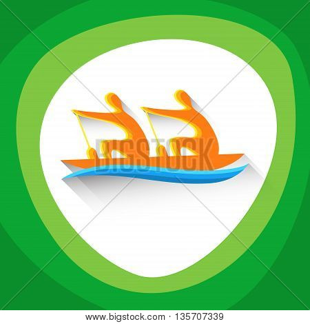 Rowing Sport Game Logo Boating Competition Icon Vector Illustration