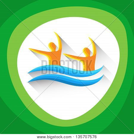 Synchronized Swimming Sport Game Logo Competition Icon Vector Illustration
