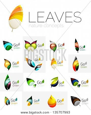 Leaf logo set. Vector collection of abstract geometric design futuristic leaves - go green logotypes. Created with color overlapping geometric elements - waves and swirls. Shiny and glossy effects