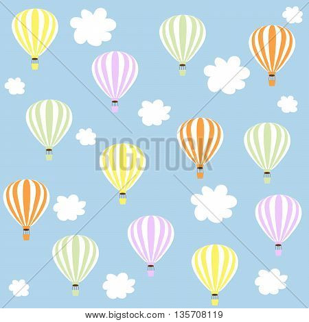 aerostats in sky. pattern, balloons in the sky surrounded by white clouds, , vector illustration