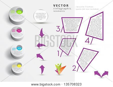 VECTOR INFOGRAPHIC DESIGN ELEMENTS (PATHS FOR TEXT INCLUDED)