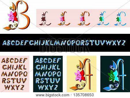 Decorative alphabet set. Collection of ornamental letters and single letters with flowers. Vector illustration.