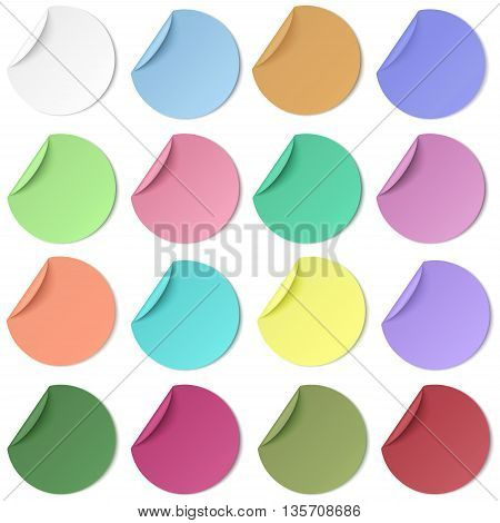 Set of pastel color round paper sticker with edge curl isolated. Light from upper left.