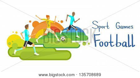 Football Match Team Sport Competition Colorful Banner Flat Vector Illustration