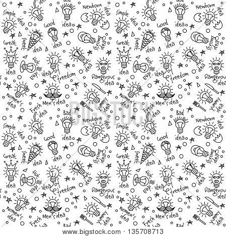 Doodles creative ideas black and white lines seamless pattern. Monochrome vector illustration. EPS8