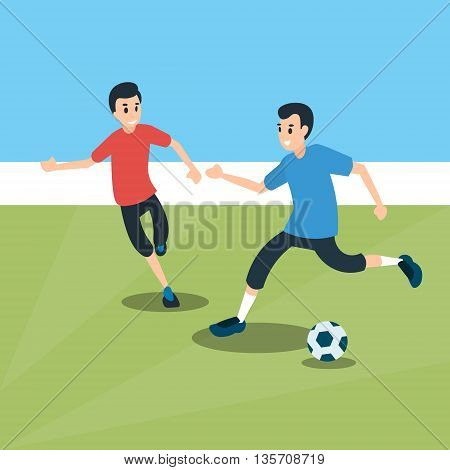 Football Match Two Players Sport Championship Flat Vector Illustration