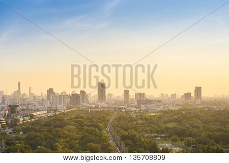 background of downtown of Cityscape at sunset