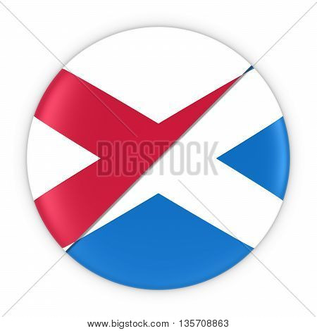 Northern Irish And Scottish Relations - Badge Flag Of Northern Ireland And Scotland 3D Illustration