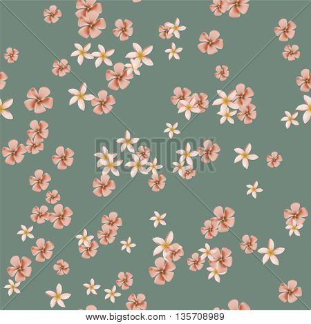 Gentle seamless pattern with orange and pink tropical flowers