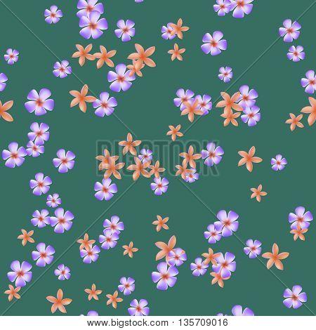 Orange and purple plumeria flowers on a green background. Seamless pattern. Vector illustration.