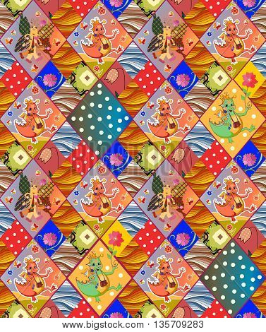 Cute childish seamless patchwork pattern. Colorful vector illustration of quilt.