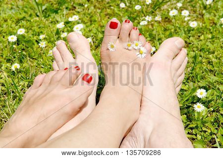 woman and man feet on a grass background