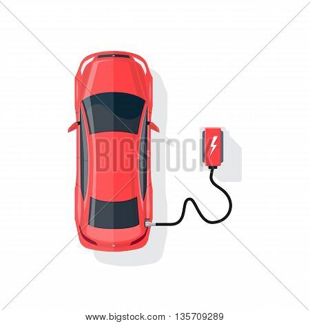 Flat vector illustration of a red electric car charging at the charger station in cartoon style. Electromobility eco e-motion concept. Top view of an electric car charging on white background.