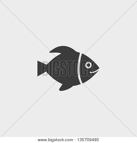 fish icon in a flat design in black color. Vector illustration eps10