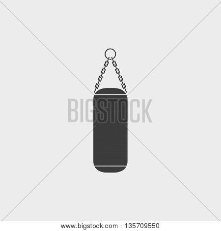 Punching Bag icon fish icon in a flat design in black color. Vector illustration eps10